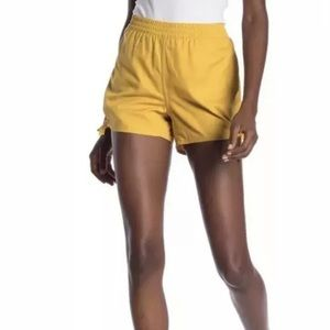 Madewell Mustard Comfy shorts with side tie
